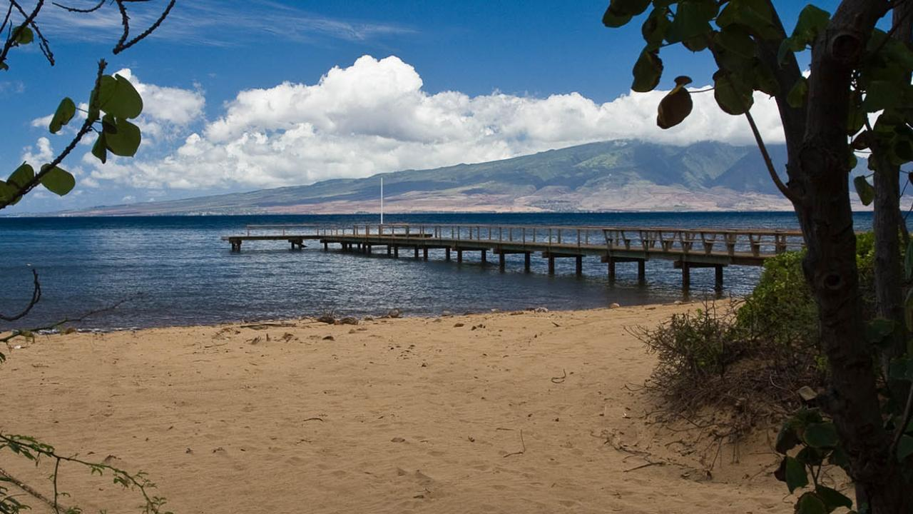 Scenic of dock on beach on Lanai