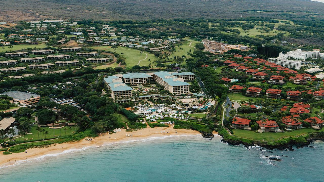 Scenic aerial of resort and coastline on Maui