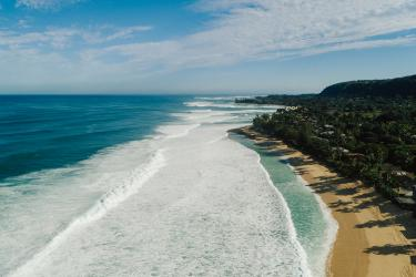 Aerial view of north Oahu shoreline